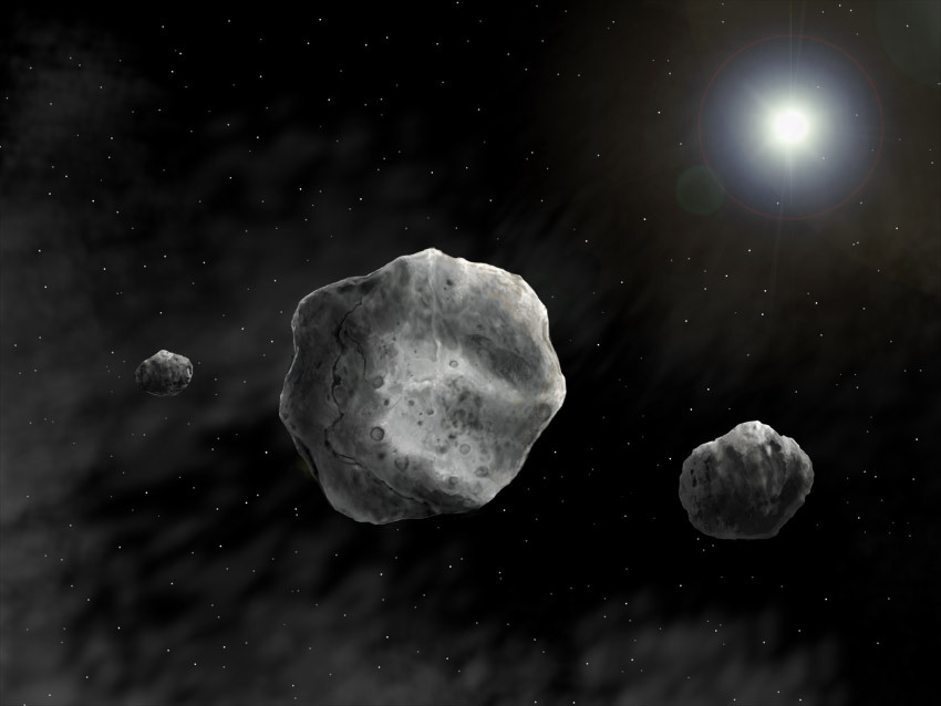 Artist impression of the triple system 93 Minerva (the large primary at the center and its two moons) (image courtesy: Danielle Futselaar)