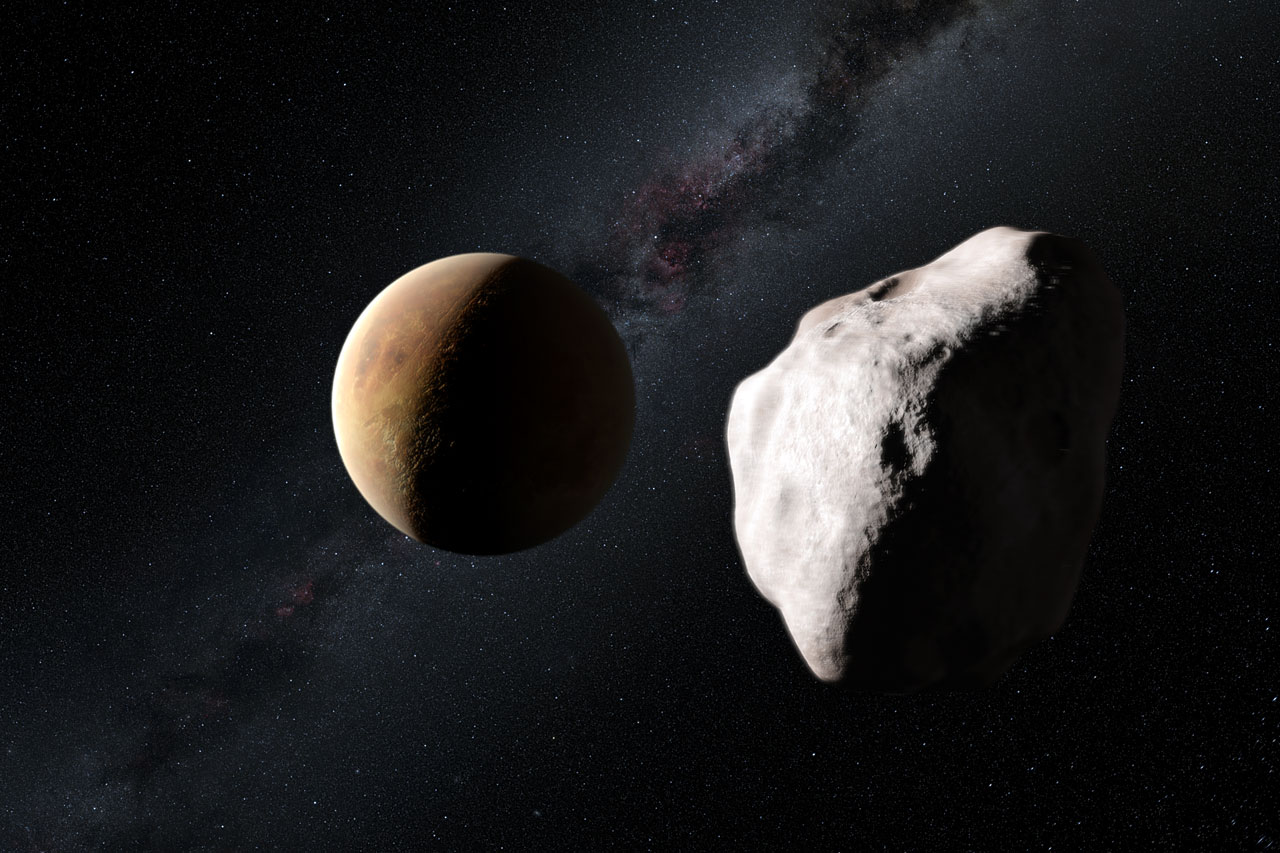 This artist's impression shows an event in the early history of the Solar System that may explain how the unusual asteroid Lutetia came to now be located in the main asteroid belt, between Mars and Jupiter. Lutetia is seen passing close to one of the very young rocky planets about four billion years ago and having its orbit drastically altered. Its unusual spectral properties indicate that Lutetia started life as a fragment of the material that was forming the inner planets but it is now found to be an interloper much further from the Sun. Credit: ESO/M. Kornmesser and Nick Risinger