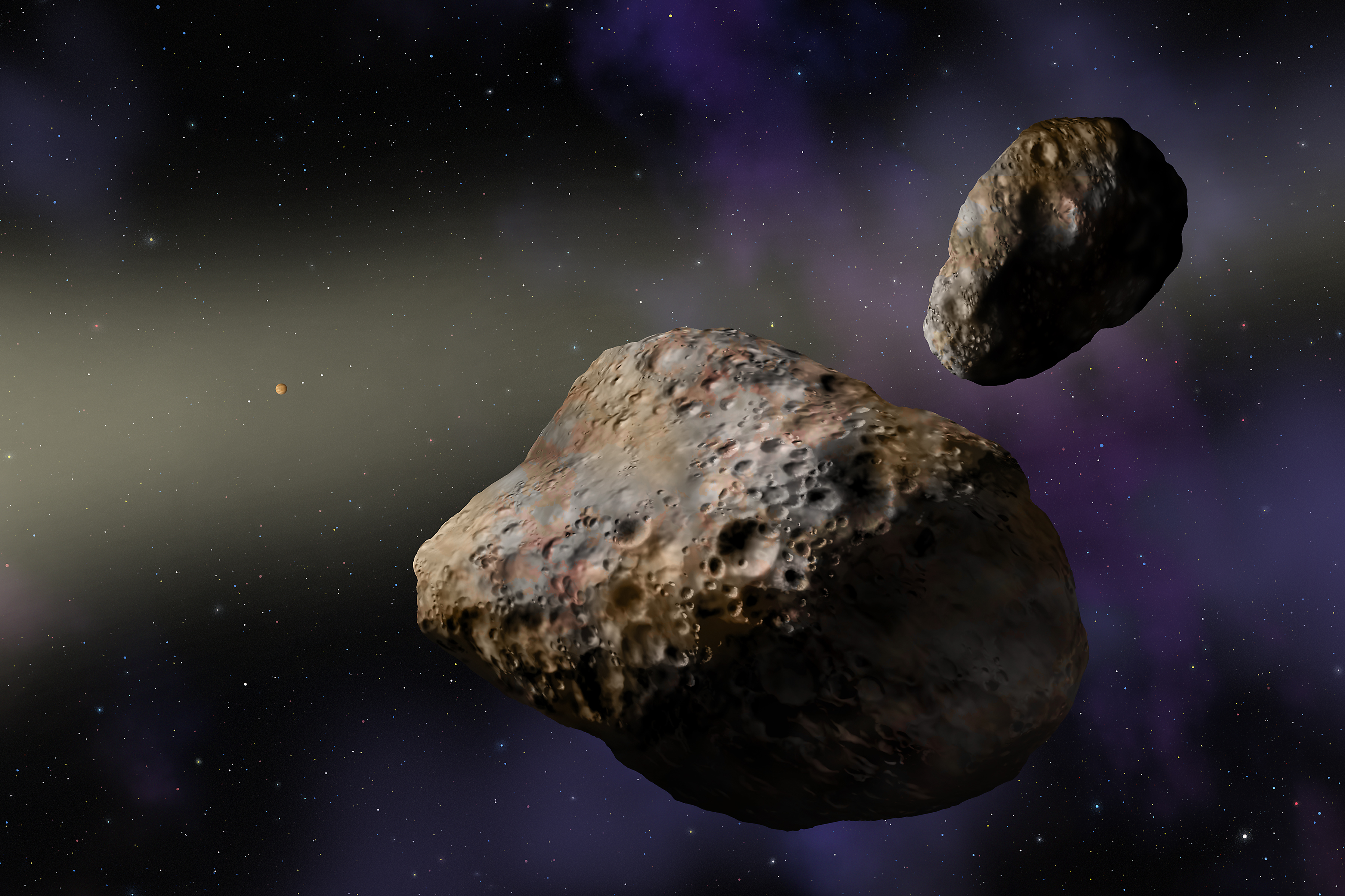 Artist's rendering of the binary asteroids Patroclus (center) and Menoetius. Jupiter and its four Galilean satellites are visible in the distance, while the sun is out of sight to the left. The dirty snowballs probably are fugitives from the Kuiper Belt now hanging out in Jupiter's orbit. (Credit: W. M. Keck Observatory/Lynette Cook)